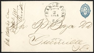 Sale Number 1215, Lot Number 2546, Confederate States: Postmasters' ProvisionalsCharleston S.C., 5c Blue entire (16XU1), Charleston S.C., 5c Blue entire (16XU1)