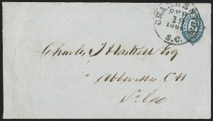 Sale Number 1215, Lot Number 2547, Confederate States: Postmasters' ProvisionalsCharleston S.C., 5c Blue on Blue entire (16XU5), Charleston S.C., 5c Blue on Blue entire (16XU5)