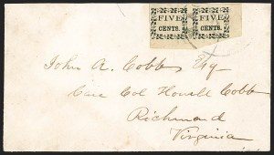 Sale Number 1215, Lot Number 2550, Confederate States: Postmasters' ProvisionalsMacon Ga., 5c Black on Yellow Wove (53X3), Macon Ga., 5c Black on Yellow Wove (53X3)
