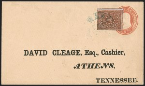 Sale Number 1215, Lot Number 2553, Confederate States: Postmasters' ProvisionalsNashville Tenn., 5c Brick Red (61X3), Nashville Tenn., 5c Brick Red (61X3)