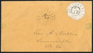 Sale Number 1215, Lot Number 2556, Confederate States: Postmasters' ProvisionalsSpartanburg S.C., 5c Black (78X1), Spartanburg S.C., 5c Black (78X1)