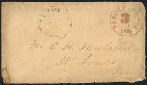 Sale Number 1215, Lot Number 2557, Confederate States: Postmasters' ProvisionalsTuscumbia Ala., United States 3c Rate, Red on Manila entire (6AXU1; formerly 12XU1), Tuscumbia Ala., United States 3c Rate, Red on Manila entire (6AXU1; formerly 12XU1)