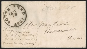 Sale Number 1215, Lot Number 2561, Confederate States: Handstamped Paid and DueSouth Bend Ark. Oct. 19 (1862), South Bend Ark. Oct. 19 (1862)