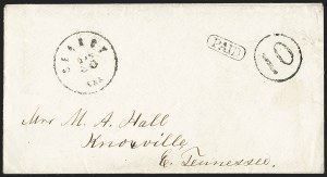 Sale Number 1215, Lot Number 2562, Confederate States: Handstamped Paid and DueSearcy Ark. Jan. 30 (1862), Searcy Ark. Jan. 30 (1862)
