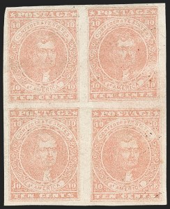 Sale Number 1215, Lot Number 2573, Confederate States: General Issues Off Cover10c Rose (5), 10c Rose (5)