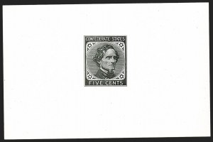 Sale Number 1215, Lot Number 2574, Confederate States: General Issues Off Cover5c Black, De La Rue, Large Die Trial Color Proof on Glazed Card (6TC1d), 5c Black, De La Rue, Large Die Trial Color Proof on Glazed Card (6TC1d)