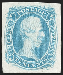 "Sale Number 1215, Lot Number 2575, Confederate States: General Issues Off Cover10c Blue, ""TEN"" (9), 10c Blue, ""TEN"" (9)"