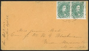 Sale Number 1215, Lot Number 2581, Confederate States: General Issues On Cover5c Green, Stone 1, Baton Rouge Roulette (1 var), 5c Green, Stone 1, Baton Rouge Roulette (1 var)