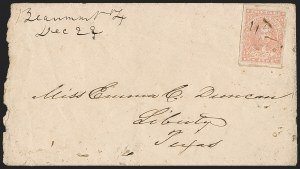 Sale Number 1215, Lot Number 2585, Confederate States: General Issues On Cover10c Rose (5), 10c Rose (5)