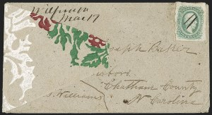 Sale Number 1215, Lot Number 2594, Confederate States: General Issues On Cover10c Greenish Blue, Die A (11c), 10c Greenish Blue, Die A (11c)