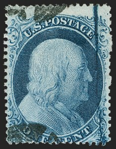 Sale Number 1216, Lot Number 100, 1c 1857 Perforated Issue: Plate 1 Late, Plate 21c Blue, Ty. II, Major Plate Crack (20 var), 1c Blue, Ty. II, Major Plate Crack (20 var)