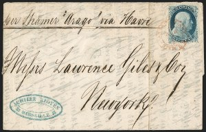 Sale Number 1216, Lot Number 103, 1c 1857 Perforated Issue: Plate 41c Blue, Ty. Ia (19), 1c Blue, Ty. Ia (19)