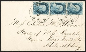 Sale Number 1216, Lot Number 104, 1c 1857 Perforated Issue: Plate 41c Blue, Ty. IIIa/IIIa/Ic (22/22/19b), 1c Blue, Ty. IIIa/IIIa/Ic (22/22/19b)