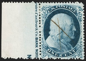 Sale Number 1216, Lot Number 105, 1c 1857 Perforated Issue: Plate 41c Blue, Ty. IIIa (22), 1c Blue, Ty. IIIa (22)
