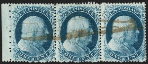 Sale Number 1216, Lot Number 108, 1c 1857 Perforated Issue: Plate 41c Blue, Ty. II (20), 1c Blue, Ty. II (20)