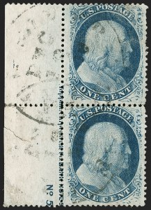 Sale Number 1216, Lot Number 111, 1c 1857 Perforated Issue: Plate 51c Blue, Ty. V (24), 1c Blue, Ty. V (24)