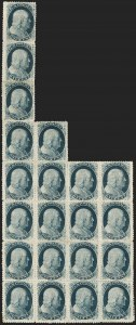 Sale Number 1216, Lot Number 112, 1c 1857 Perforated Issue: Plate 51c Blue, Ty. V (24), 1c Blue, Ty. V (24)