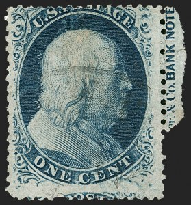 Sale Number 1216, Lot Number 113, 1c 1857 Perforated Issue: Plate 51c Blue, Ty. Va (24), 1c Blue, Ty. Va (24)