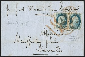Sale Number 1216, Lot Number 114, 1c 1857 Perforated Issue: Plate 51c Blue, Ty. Va (24), 1c Blue, Ty. Va (24)