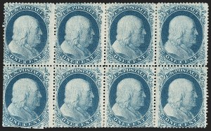 Sale Number 1216, Lot Number 128, 1c 1857 Perforated Issue: Plates 11-121c Blue, Ty. II-IIIa-IIIa-I/I-I-I-I (20-22-22-18/18), 1c Blue, Ty. II-IIIa-IIIa-I/I-I-I-I (20-22-22-18/18)