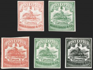 Sale Number 1216, Lot Number 149, 1860-61 Transcontinental Pony ExpressWells Fargo & Co. Pony Express, $2.00-$4.00 Horse & Rider Issues (143L1-143L5), Wells Fargo & Co. Pony Express, $2.00-$4.00 Horse & Rider Issues (143L1-143L5)