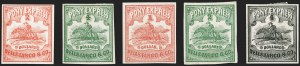 Sale Number 1216, Lot Number 150, 1860-61 Transcontinental Pony ExpressWells Fargo & Co. Pony Express, $1.00-$4.00 Horse & Rider Issues (143L1-143L5), Wells Fargo & Co. Pony Express, $1.00-$4.00 Horse & Rider Issues (143L1-143L5)