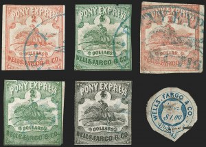 Sale Number 1216, Lot Number 151, 1860-61 Transcontinental Pony ExpressWells Fargo & Co. Pony Express, $1.00-$4.00 Horse & Rider, $1.00 Garter Issues (143L1-143L6), Wells Fargo & Co. Pony Express, $1.00-$4.00 Horse & Rider, $1.00 Garter Issues (143L1-143L6)