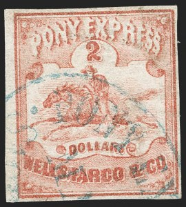 Sale Number 1216, Lot Number 152, 1860-61 Transcontinental Pony ExpressWells Fargo & Co. Pony Express, $2.00 Red (143L1), Wells Fargo & Co. Pony Express, $2.00 Red (143L1)