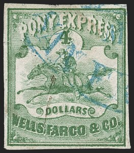 Sale Number 1216, Lot Number 153, 1860-61 Transcontinental Pony ExpressWells Fargo & Co. Pony Express, $4.00 Green (143L2), Wells Fargo & Co. Pony Express, $4.00 Green (143L2)