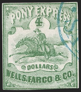 Sale Number 1216, Lot Number 154, 1860-61 Transcontinental Pony ExpressWells Fargo & Co. Pony Express, $4.00 Green (143L2), Wells Fargo & Co. Pony Express, $4.00 Green (143L2)