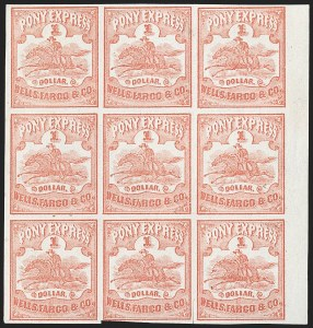 Sale Number 1216, Lot Number 159, 1860-61 Transcontinental Pony ExpressWells Fargo & Co. Pony Express, $1.00 Red (143L3), Wells Fargo & Co. Pony Express, $1.00 Red (143L3)
