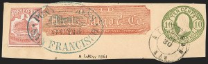 Sale Number 1216, Lot Number 164, 1860-61 Transcontinental Pony ExpressWells Fargo & Co. Pony Express, $1.00 Red (143L3), Wells Fargo & Co. Pony Express, $1.00 Red (143L3)