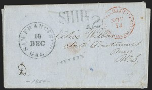Sale Number 1216, Lot Number 221, Hawaii: Stampless Covers and Missionary IssuesHonolulu*Hawaiian Islands*Nov. 14 (1854), Honolulu*Hawaiian Islands*Nov. 14 (1854)