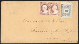 "Sale Number 1216, Lot Number 223, Hawaii: Stampless Covers and Missionary Issues1851, 13c Blue, ""Hawaiian Postage"" (3), 1851, 13c Blue, ""Hawaiian Postage"" (3)"