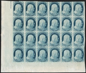 Sale Number 1216, Lot Number 54, 1c 1851 Imperforate Issue: Plate 21c Blue, Ty. II (7), 1c Blue, Ty. II (7)