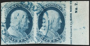 Sale Number 1216, Lot Number 55, 1c 1851 Imperforate Issue: Plate 21c Blue, Ty. II (7), 1c Blue, Ty. II (7)