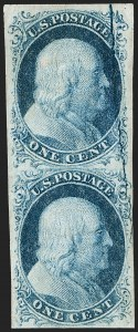 Sale Number 1216, Lot Number 57, 1c 1851 Imperforate Issue: Plate 21c Blue, Type II, Major Plate Crack (7 var), 1c Blue, Type II, Major Plate Crack (7 var)