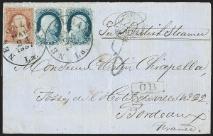 Sale Number 1216, Lot Number 58, 1c 1851 Imperforate Issue: Plate 21c Blue, Ty. II (7), 1c Blue, Ty. II (7)