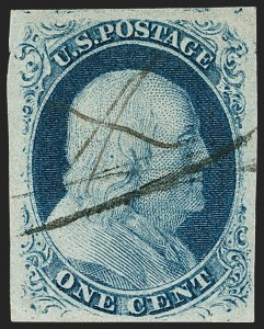 Sale Number 1216, Lot Number 60, 1c 1851 Imperforate Issue: Plate 21c Blue, Ty. III, Position 99R2 (8), 1c Blue, Ty. III, Position 99R2 (8)