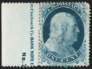Sale Number 1216, Lot Number 99, 1c 1857 Perforated Issue: Plate 1 Late, Plate 21c Blue, Ty. II (20), 1c Blue, Ty. II (20)