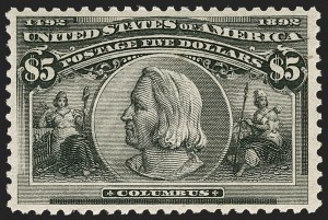 Sale Number 1217, Lot Number 1000, 1893 Columbian Issue (Scott 230-245)$5.00 Columbian (245), $5.00 Columbian (245)