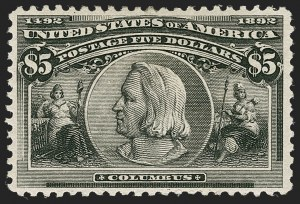 Sale Number 1217, Lot Number 1001, 1893 Columbian Issue (Scott 230-245)$5.00 Columbian (245), $5.00 Columbian (245)