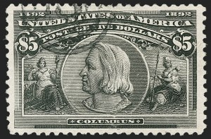 Sale Number 1217, Lot Number 1002, 1893 Columbian Issue (Scott 230-245)$5.00 Columbian (245), $5.00 Columbian (245)