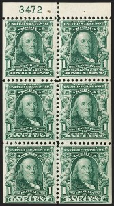 Sale Number 1217, Lot Number 1053, 1902-08 Issues (Scott 300-320)1c Blue Green, Booklet Pane of Six, Misplaced Plate Number (300b var), 1c Blue Green, Booklet Pane of Six, Misplaced Plate Number (300b var)