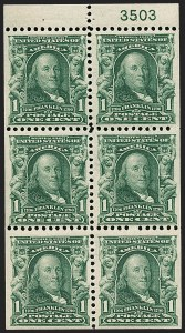 Sale Number 1217, Lot Number 1054, 1902-08 Issues (Scott 300-320)1c Blue Green, Booklet Pane of Six (300b), 1c Blue Green, Booklet Pane of Six (300b)