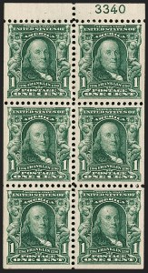 Sale Number 1217, Lot Number 1055, 1902-08 Issues (Scott 300-320)1c Blue Green, Booklet Pane of Six (300b), 1c Blue Green, Booklet Pane of Six (300b)