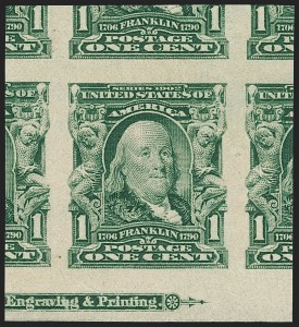 Sale Number 1217, Lot Number 1060, 1902-08 Issues (Scott 300-320)1c Blue Green, Imperforate (314), 1c Blue Green, Imperforate (314)