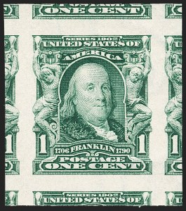 Sale Number 1217, Lot Number 1061, 1902-08 Issues (Scott 300-320)1c Blue Green, Imperforate (314), 1c Blue Green, Imperforate (314)