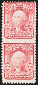 Sale Number 1217, Lot Number 1067, 1902-08 Issues (Scott 300-320)2c Carmine, Ty. I, Vertical Pair, San Francisco Roulette (319r, formerly 319e var), 2c Carmine, Ty. I, Vertical Pair, San Francisco Roulette (319r, formerly 319e var)
