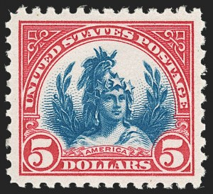 Sale Number 1217, Lot Number 1173, 1918-22 Issues (Scott 527-573)$5.00 Carmine & Blue (573), $5.00 Carmine & Blue (573)